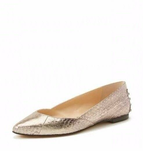 Vince Camuto 7411 Women's Alley Metallic Pewter Studded Snake Print Flats Size 5
