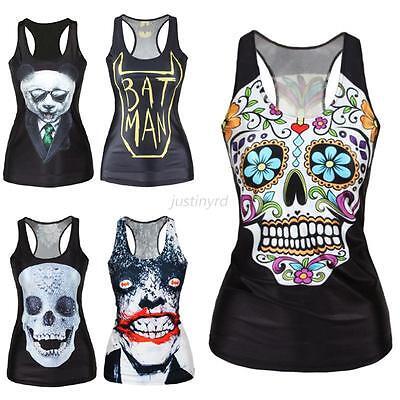 Lady Girl Vest Tank Top Print Blouse Gothic Punk Party Clubwear Tank T-Shirt J87
