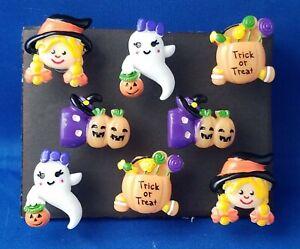 HALLOWEEN-TRICK-or-TREAT-Push-Pins-Thumb-Tacks-Handmade-Decorative-8-pc-Set