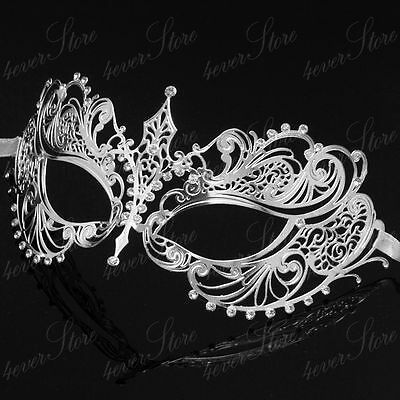 Silver Metal Extravagant with Rhinestones Wedding Masquerade Mask Collections