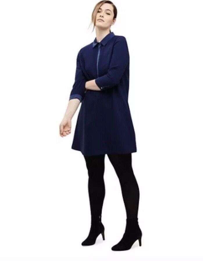 CL15  Studio 8 damen Blau Emily Shirt Dress Größe UK 14
