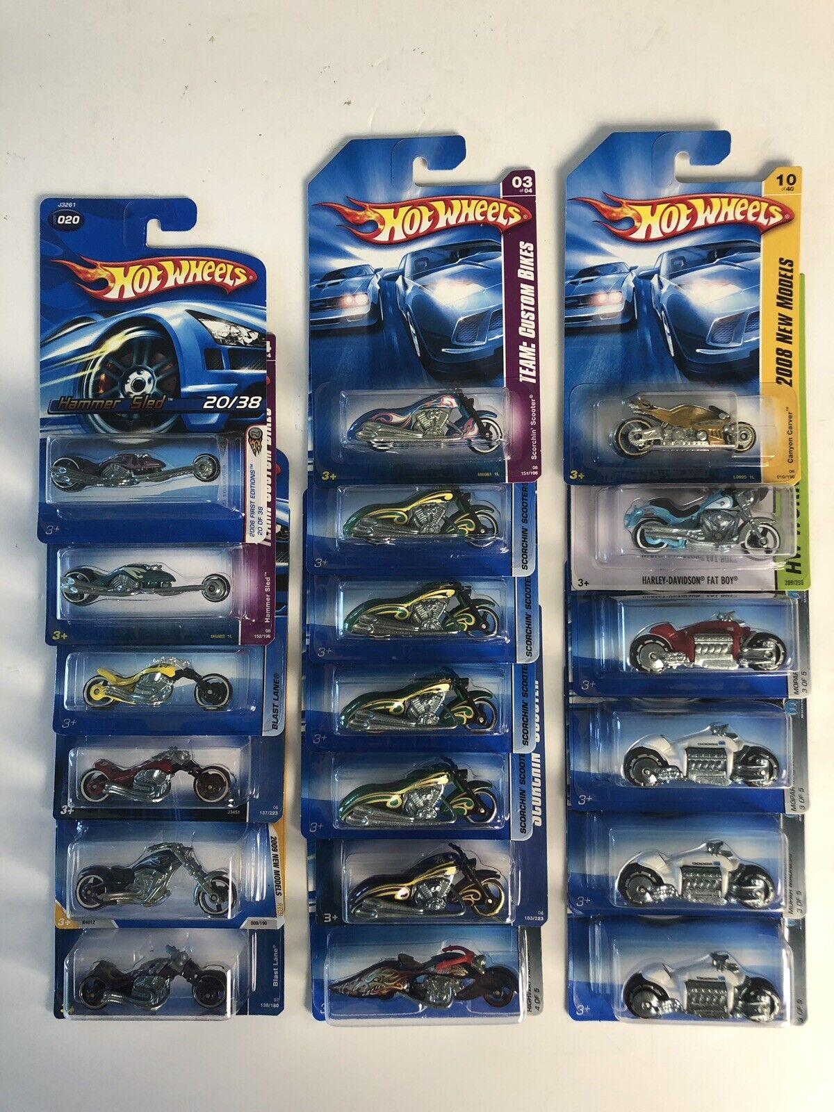 Hot Wheels-Bike Lote - 19 diferentes variaciones-algunos más antiguos Tarjetas Azul-Nuevo