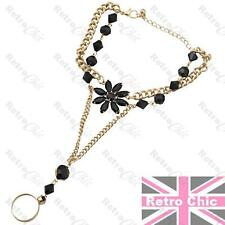 RETRO slave BRACELET black flower GOLD FASHION chain HAND JEWELLERY ring BOHO