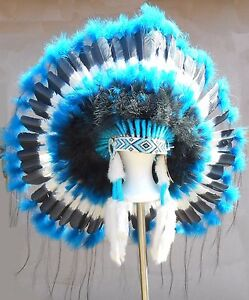 Genuine-Native-American-Navajo-Indian-Headdress-36-034-TURQUOISE-TRAIL-Blue-amp-Black