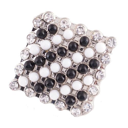 1 PC 18MM Black White Rhinestone Silver Snap Candy Charm KC6014 CC2096