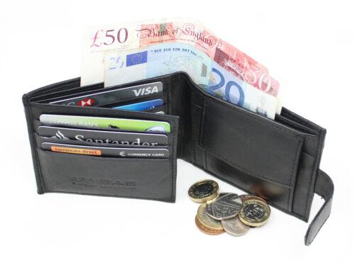 Men/'s RFID Blocco Nero Vera Pelle tessere carte di credito tasca monete Portafoglio 895
