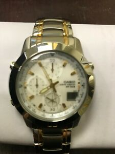 Casio Wave Ceptor WVQ560D-7 Two Tone Stainless Steel-Gold  Men's Wristwatch