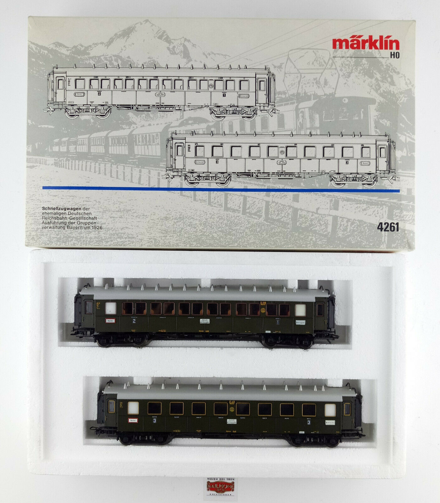 Marklin h0 4261-set of two cars 1926 1ª 2ª 3ª Class passengers-original box