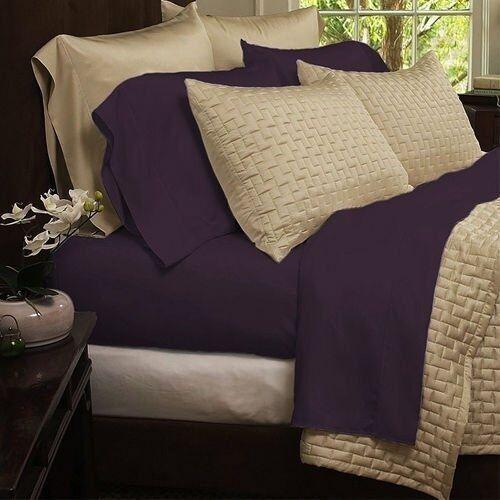 Bamboo Comfort 4-Piece Sheet Set 1800 Series Bedding - Queen Purple Sheets