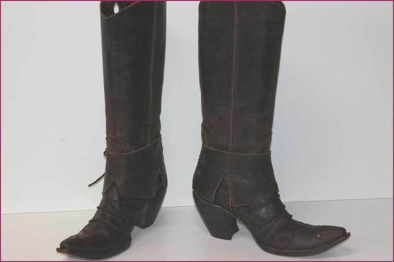 FRU IT Bottes à Marron Talons Pointues Tout Cuir Marron à T 39 TBE 53136b