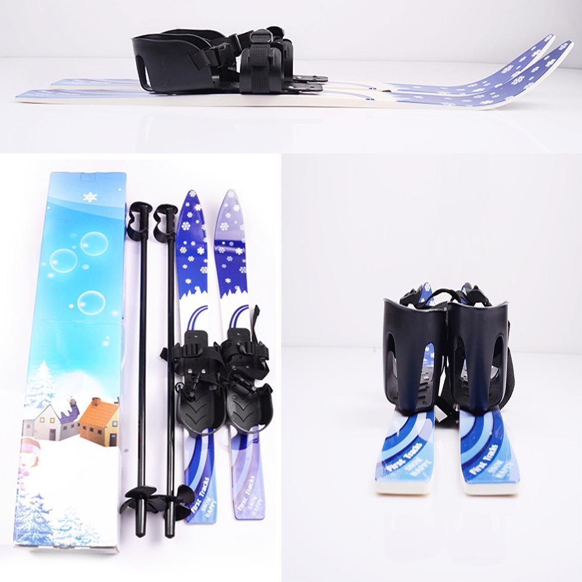 Kids Beginner Snow Skis Poles Set Board Bindings Skiblades Snowboard Gift 65cm