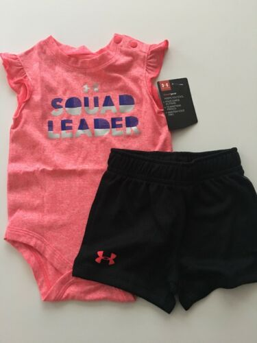 Under Armour Girls Active Bodysuit Shorts Outfit Size 3 6 9 12 Months Pink Black