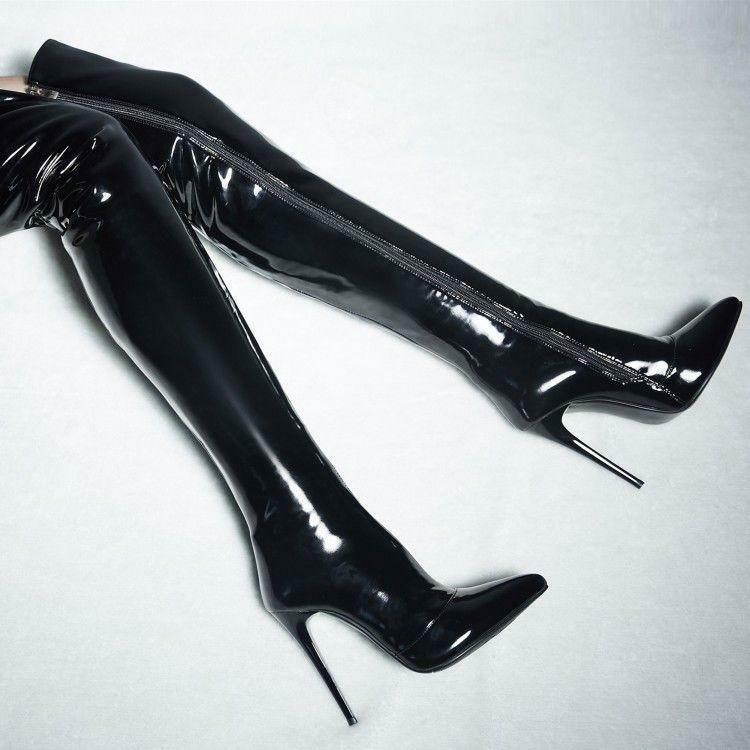 Women High Heel Stiletto Strench Over Knee Thigh Boots Patent Leather shoes Sexy