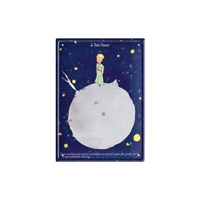 Planète fond bleu 15x21cm Le Petit Prince PLAQUE METAL CULTE