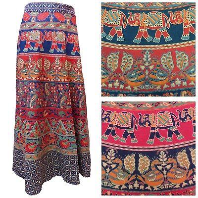 New Cotton Wrap Skirt 10 12 14 16 Hippy Indian Hippie Boho Peacock Floral