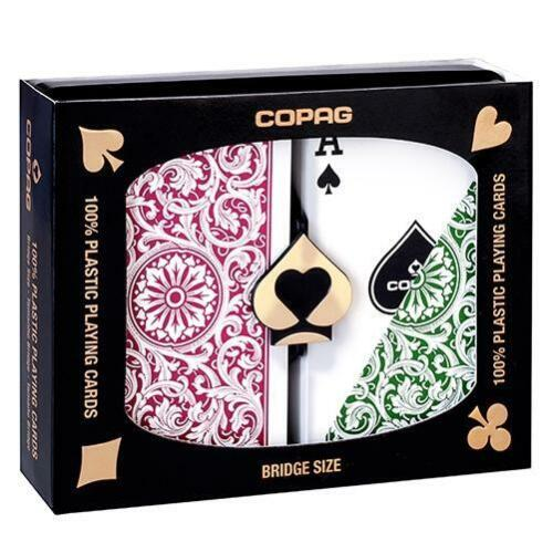 Copag 100% Plastic Playing Cards Bridge Size Burgundy Green 2Deck Set