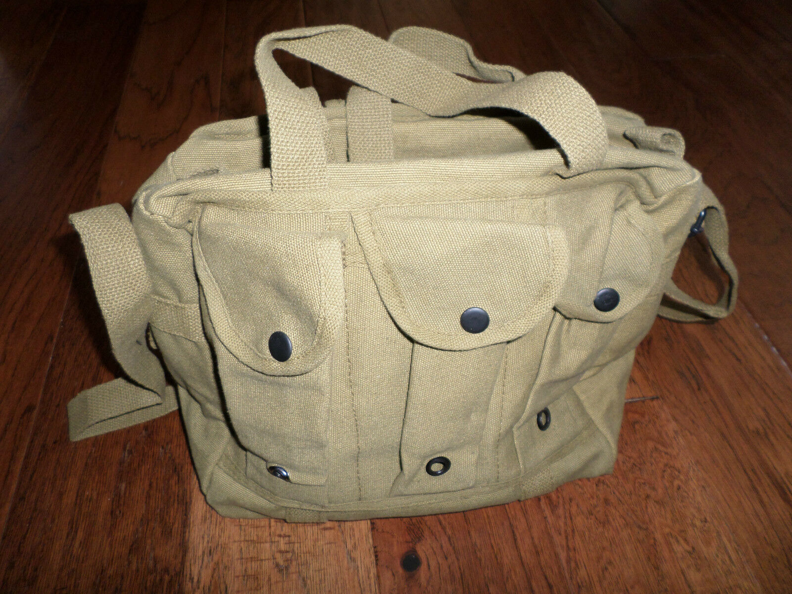 OD GREEN CANVAS SHOOTERS BAG W  SIX MAGAZINE COMPARTMENTS SHOULDER STRAP