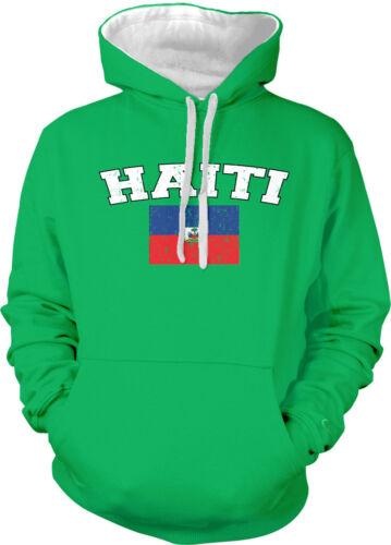 Haiti Country Flag Haitian Pride Ayiti Football Soccer 2-tone Hoodie Pullover