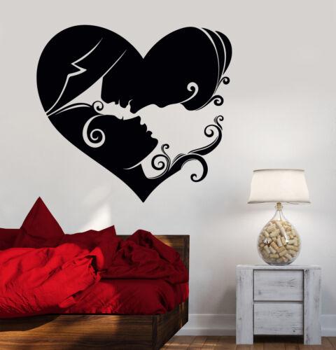 Vinyl Wall Decal Heart Loving Couple Bedroom Art Love Stickers 457ig