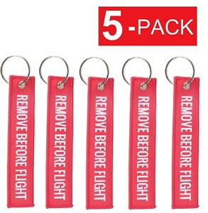 5-Pack REMOVE BEFORE FLIGHT Luggage Tag Label Key Chain Ring ... d59d3e8f6a