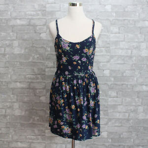 NWT-Hollister-Womens-Floral-Dress-Navy-XS