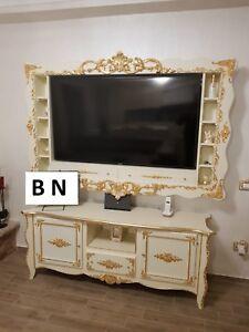 CORNICE-TV-E-MOBILE-BASSO-IN-LEGNO-AVORIO-E-FOGLIA-ORO-ARREDO-CASA-SOGGIORNO