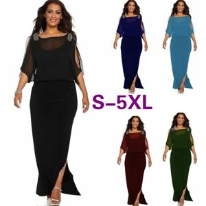 Details about Plus Size Womens Cold Shoulder Chiffon Evening Party Casual  Formal Maxi Dress