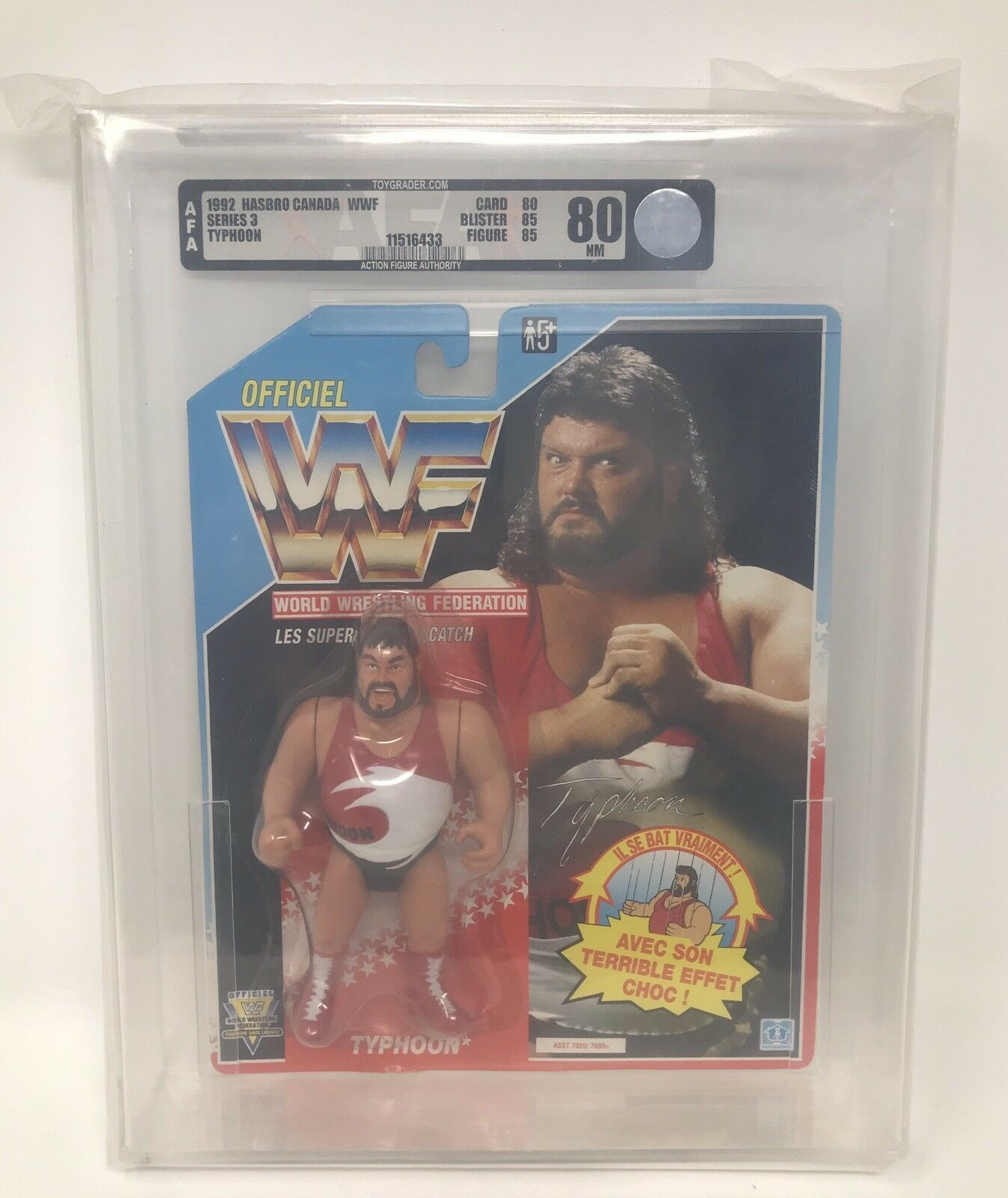 TYPHOON 1992 Series 3 HASBRO WWF Wrestling FIGURE Fred Ottman Tugboat WWE AFA 80