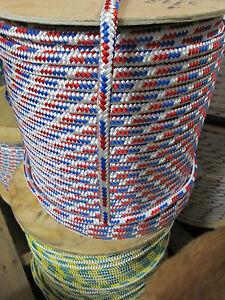 "1//2/"" X 100/' Anchor Line,Polyester Double braid 8500lb,USA WHITE"