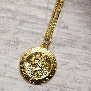 Gold Plated St Christopher Pendant Mens Chain Womens Italy