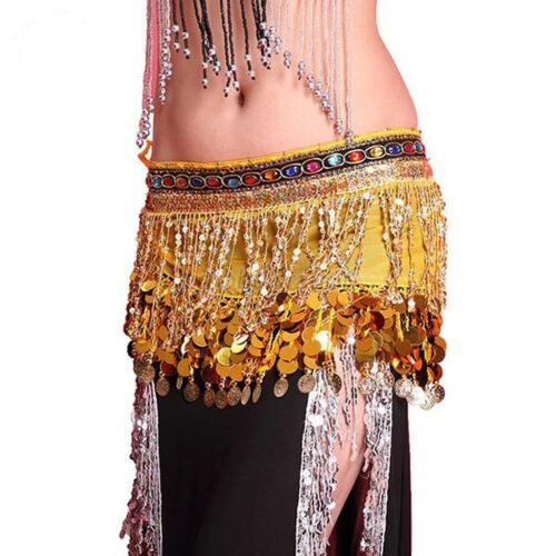 Belly Dance Hip Scarf Wrap Skirt Belt Costume Festival Club Sequin Tassel Skirt
