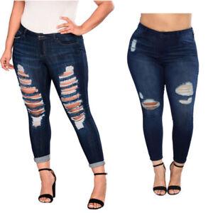 7eb8235116f Women Plus Size Denim Skinny Jeans Pants Ripped Elastic Slim High ...