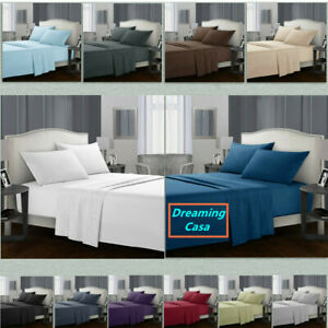 Egyptian-Comfort-1800-Count-4-Piece-Deep-Pocket-Bed-Sheet-Set-King-Queen-Size-H3