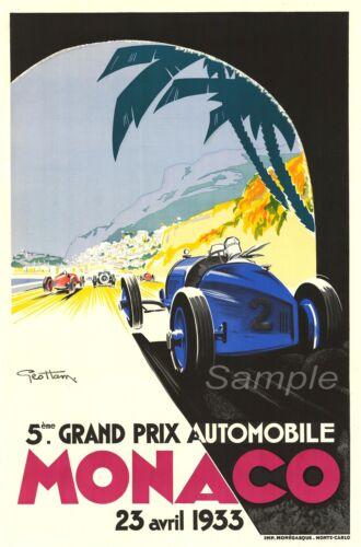 VINTAGE 1933 MONACO GRAND PRIX RACING A2 POSTER PRINT