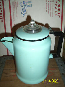 Vintage-Powder-Blue-Enamelware-Tea-Coffee-Pot-Kettle-W-Lid-amp-Insert-Original