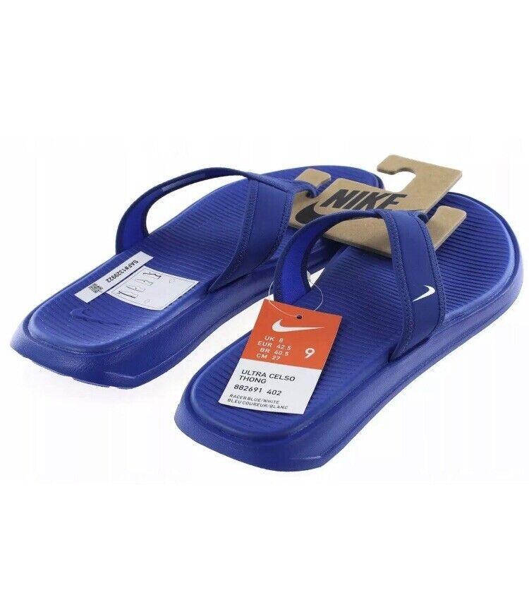 Importé De L'éTranger Homme Nike Ultra Celso Thong Beach/gym Tongs Bleu 882691 402 Uk 8