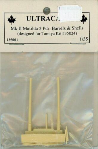 Ultracast 1:35 Mk.II Matilda 2 Pdr Barrels /& Shells Detail for Tamiya #135001