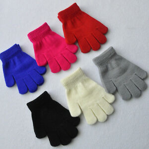 Childrens-Girls-Boys-Kids-Magic-Gloves-Stretchy-Warm-Pick-Colour-Knitted-Winter