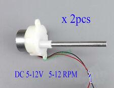 2pcs DC 6V 9V 12V 300 Long Output Shaft Worm Geared Gear Motor Toy DIY 5-12 RPM