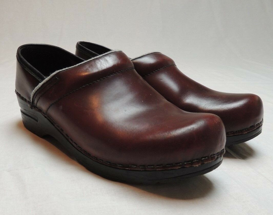 Dansko Leather Clogs Occupational Mules Burgundy Slip Ons Womens Sz 37