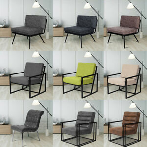 Details About Retro Vintage Leather Metal Slab Armchair Occasional Living Room Dining Chair Uk
