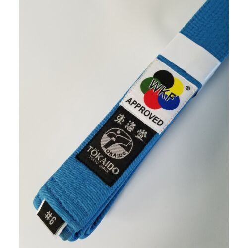 New Tokaido WKF Approved Elite Karate Belt Martial Arts Belt 100% Cotton-SkyBlue