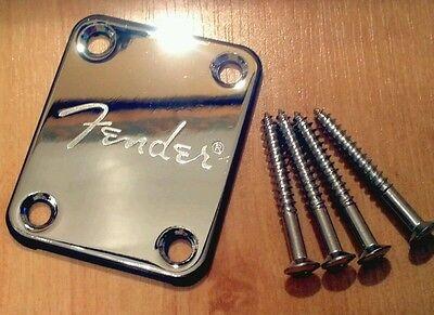 Fender logo Chrome Neck Plate & Screws for, Squier, Strat, Tele, Jag, Bass
