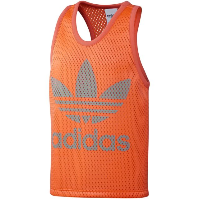 Adidas Originals ObyO Jeremy Scott JS Puff Mesh F50861 Orange Trefoil Tank Top