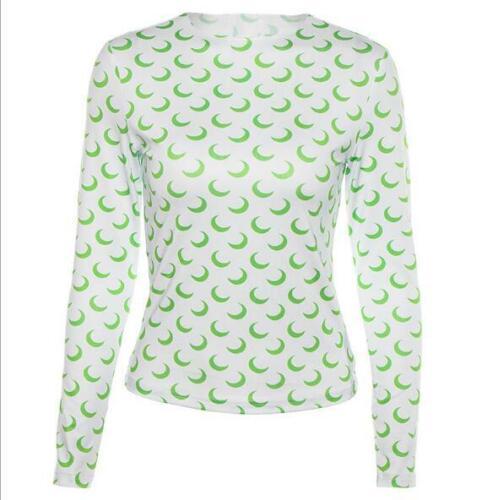 Woman Long Sleeve Crop T-shirt Moon Printed O Neck Punk Crop T-shirt S-L 6Color
