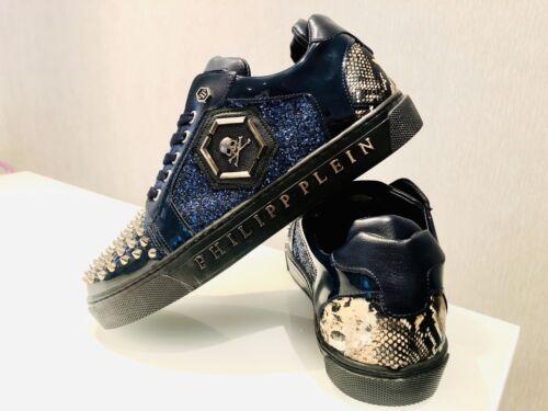 Philipp Plein UK 9// EU 43// US 10 Blue Bling Glitter Sneakers Shoes