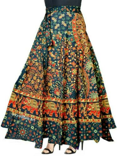 Indian Women/'s Cotton Printed Multicolore Long Skirt Wrap Around Hippie