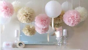 10-Pieces-Papier-Tissu-Pompons-Suspendu-Guirlande-Mariage-Fete-Decoration