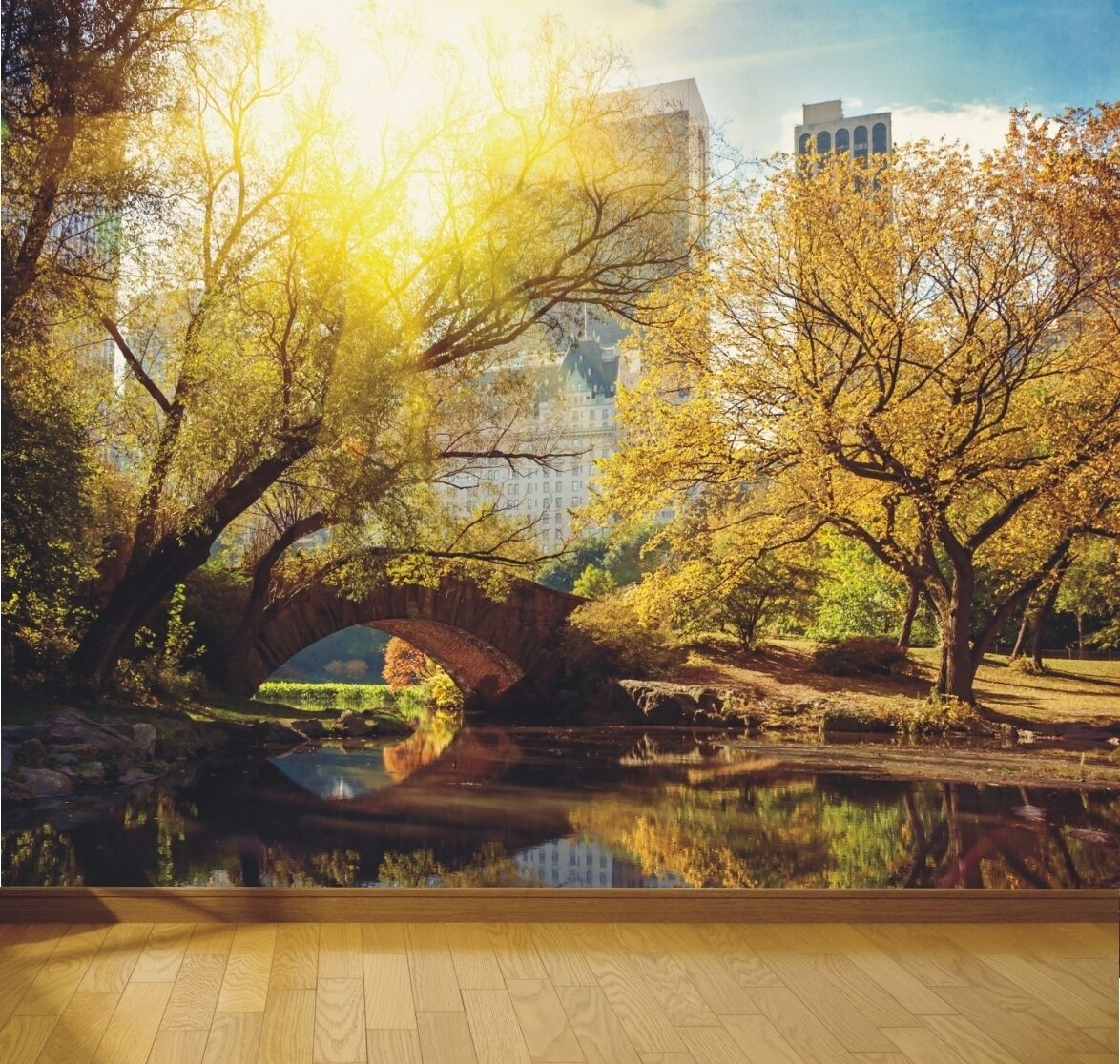 New York central park in the sun wallpaper mural design wm433