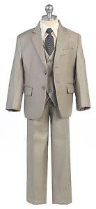 Boys Toddler Kid Teen 5-PC Wedding Formal Party Suit Tuxedo w/vest Khaki sz 2-20